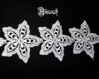 3 white guipure lace applique patterns
