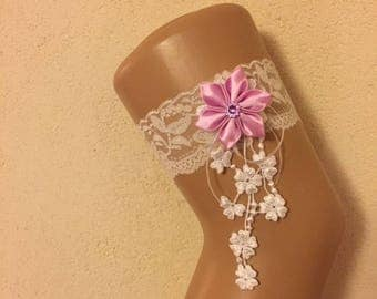 White lace wedding garter * flower satin * custom