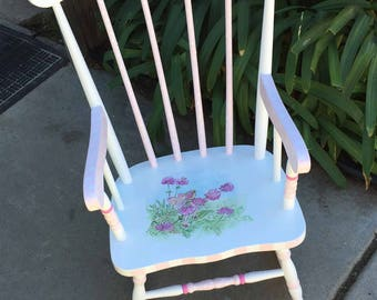 white fairy rocking chair, hand painted furniture, painted rocking chairs, painted kids furniture
