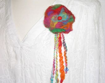 """brooch """"Harlequin"""" hand spun and felted wool."""