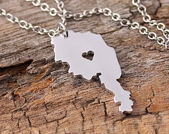 I heart Austria Necklace - Austria Pendant - Austira Country Charm - Map necklace - Map Jewelry - Long Distance Relationship