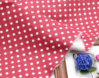 linen fabric cotton clothing red polka dot upholstery 10 m
