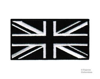 UNION JACK Black UK Flag Patch iron-on embroidered applique Top Quality British United Kingdom Great Britain Emblem