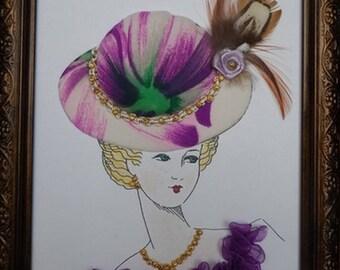 table cardboard pen, spring Hat Lady