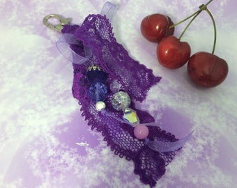 bag charm romantic purple lace