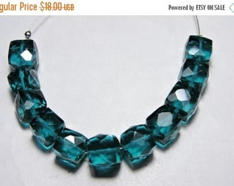 tITLE 11 Pcs Very Beautiful Teal Blue Quartz Facted Cube Boxes Beads Size - 7 - 8 MM