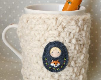 """Mug cozy woolen """"Doll Russian and his little fox"""""""