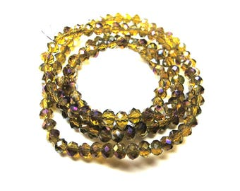 20 ROUND GLASS BEADS FACETED OLD AMBER GOLD IRIDESCENT 4 MM