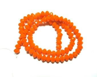 25 ROUND FACETED 6 MM ORANGE CRYSTAL BEADS