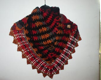 scarf / shawlette, crochet neck and dahlia pin