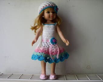 doll dress white, pink and green crochet with matching Hat