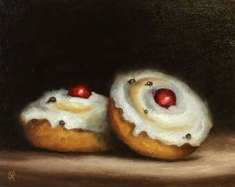 Belgian buns, cake, Small Original Oil Painting still life by Jane Palmer