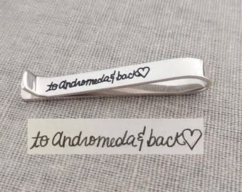 Memorial Signature Tie Clip Bar, Custom Handwriting Tie Clip, Handwritten Tie Tack, Sterling Silver Tie Clip, Custom Gift for Men