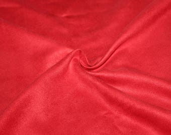 Red faux suede, 100% polyester 50 cm x 150 cm