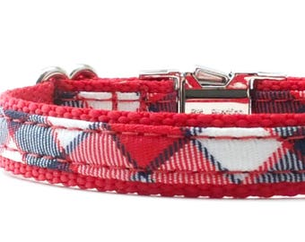 Red Plaid Dog Collar, Red White and Blue Dog Collar, 4th of July Dog Collar, Cute Plaid Collar