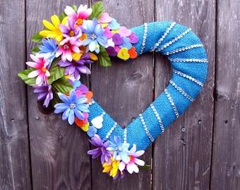 Beautiful Blue Heart ~ Wreath ~ Home Decor ~ Rustic ~ Blue Ribbon Burlap ~ Rhinestones ~ Silk flowers ~ Foam Candy Hearts