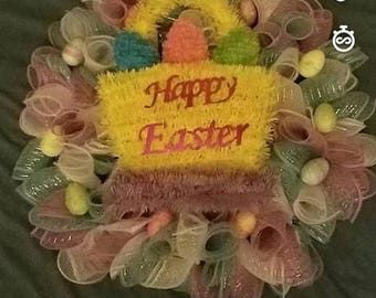 "Custom Hand Made ""Happy Easter"" Wreath"