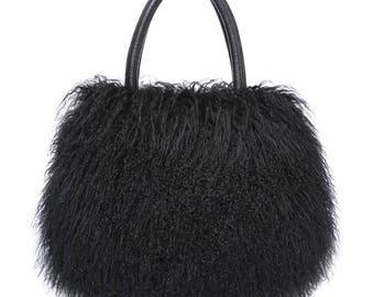 Tibetan Fur Purse / Tote Black