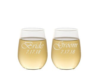 Bride and Groom Stemless Wine Glasses / Custom Engraved / Personalized Wine Glass / Set of 2  / Anniversary / Wedding Gifts for the Couple