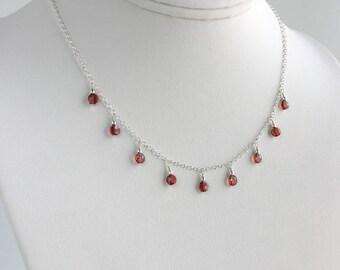 Garnet Necklace -  Garnet Necklaces for Women - Birthstone Necklace January - Dark Red Gemstone Necklace