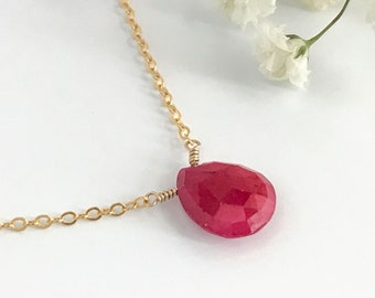 Ruby - Ruby Necklace - Necklaces for Women - Gift for Mom - Birthstone Necklace - Gemstone Necklace - Gift for Girlfriend -Gift for Her