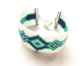 Very nice white bracelet, mint and Navy woven miyuki beads
