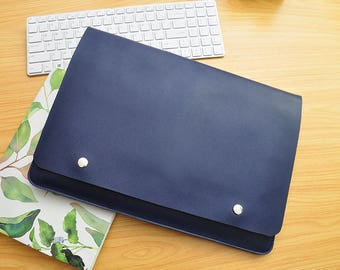 Personalized computer case leather notebook case leather laptop sleeves custom size for 11inch -15inch laptop covers Blue leather bags-087