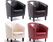 PN Homewares  Bonded Leather Tub Chair Armchair for Dining Living Room Office Reception Home Tub Chair
