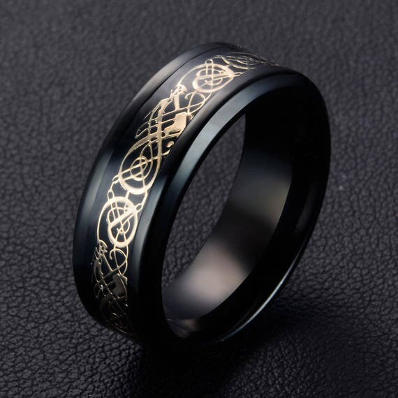 Mens Rings Wedding Band 8mm Band Gold Celtic Dragon Ring Size 8 Tungsten Carbide Ring Promise Ring Friendship ring Mens Black Dragon Ring