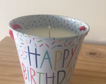 12oz Happy Birthday Bucket Soy Wax Organic Scented Candle