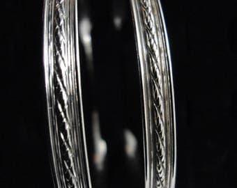 Rope edged half Bangle Bracelet fine silver, 6mm wide