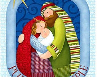 """Christmas Pure & Simple 24"""" x 45"""" Nativity Panel from Benartex by the panel"""