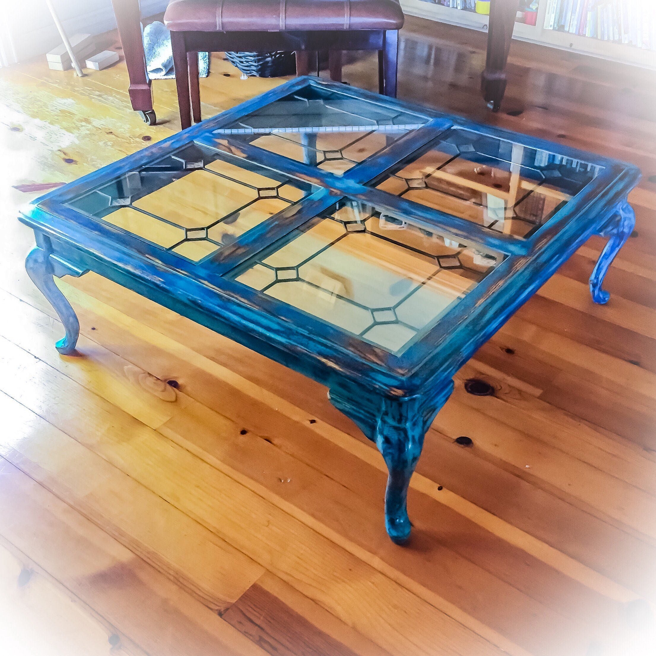 French Country Distressed Coffee Table: Large Antique Coffee Table Leaded Glass Top Distressed