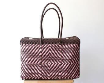 Brown & Pink, Woven Mexican bag, Picnic Basket, Beach Bag, Gifts for her, Mexican Gifts, Oaxaca Tote Bag, Woven Bag, Mexican Basket
