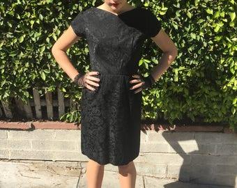 Free Shipping, 1950's Black Brocade, Wiggle Dress, Womens Small, by Ardanti