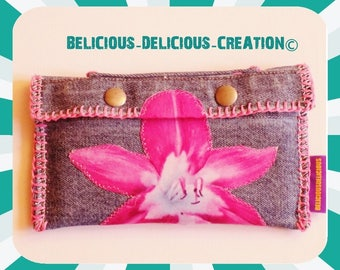 Original wallet! BLUE LOTUS! Blue Denim T:16 cm x 10 cm belicious delicious creation