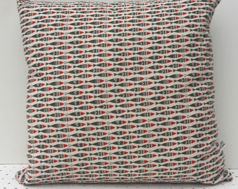Scandinavian style - Vintage little grey herring fish cushion cover. Made in Cornwall.