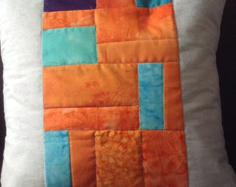 Handmade quilted cushion cover for a 35x35cm size, orange and white