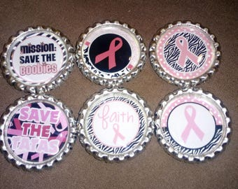 Breast Cancer Pink Ribbon Bottle Cap Magnets - 6pc Set