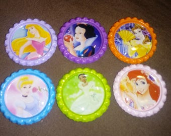 Disney Princesses Color Bottle Cap Magnets - 6pc Set