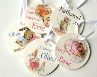 Beatrix Potter Personalized Tree Decorations - Set of 5 - Peter Rabbit - Mrs Tiggy-Winkle - Pigling Bland - Jemima Puddleduck - Miss Moppet