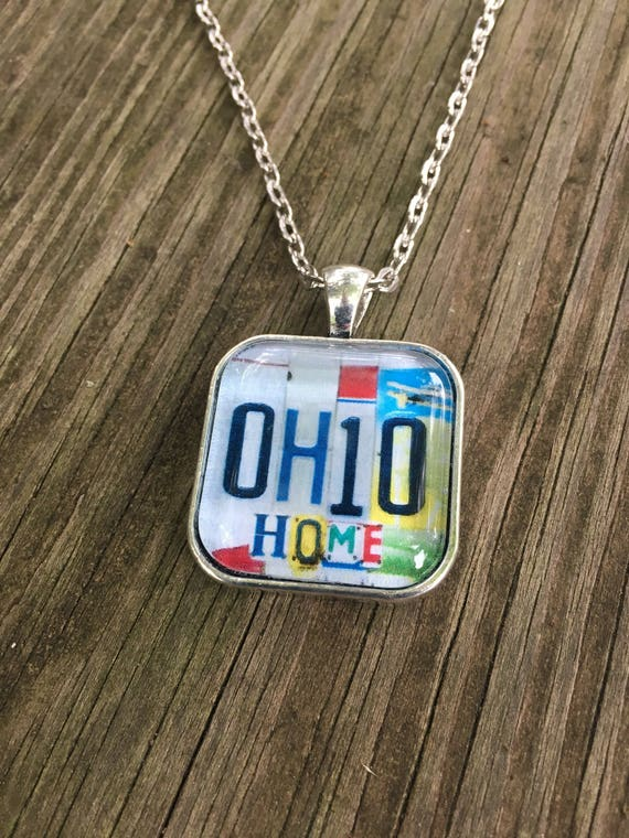 Ohio Necklace w/ License Plate Art - Ohio Home - Unique Pendant Chain Necklace with License Plate Sign Image - Small Gift  Stocking Stuffer