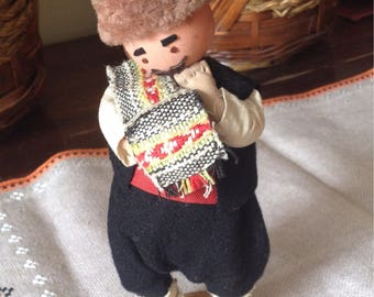 Old doll in national costume, Vintage Folk Art man, BULGARIAN folk figurine, Wooden folk doll, Folk Doll, Autentic Folklore Costume