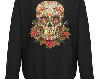 Christmas Sugar Skull Sweatshirt Jumper | Funny Festive Goth | Free UK Delivery | Tracked International Delivery