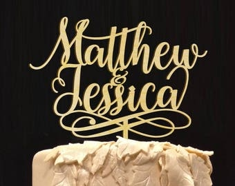 Personalized Groom and Bride Names Wedding Cake Topper,  Wedding Cake Decor, Anniversary - Bridal Shower - Wedding Gift, Wedding Keepsake