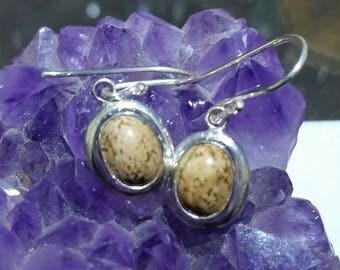 sterling silver rhyolite hook earrings
