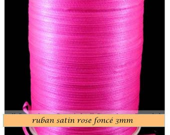 dark pink satin, 3mm the meter wide ribbon