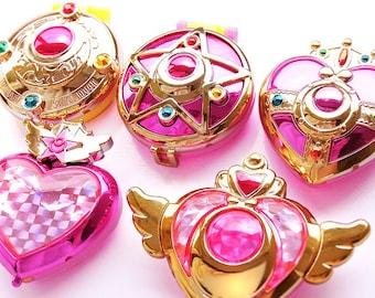 Sailor Moon Phone Case Deco Set of 5 (DIY Accessories, Sailormoon Mini Mirror Case,  Heart, Moon, Crystal star, compact, decoden)