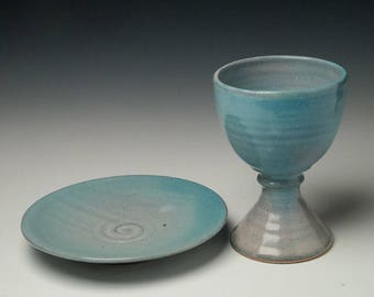 pottery chalice and paten set, communionware