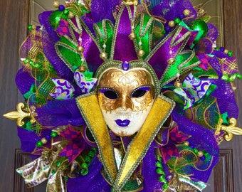 Large Princess Venetian Mardi Gras Carnival Mask Wreath | Wreaths on Etsy | Etsy Wreaths